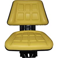 Yellow TRAC SEATS Brand TRIBACK Style Universal Tractor Suspension SEAT with TILT FITS John Deere 5200 5210 5300 5310 (Fast Shipping - 1-4 Business Days DELIVERY - Same OR Next Day Shipping -View MAP