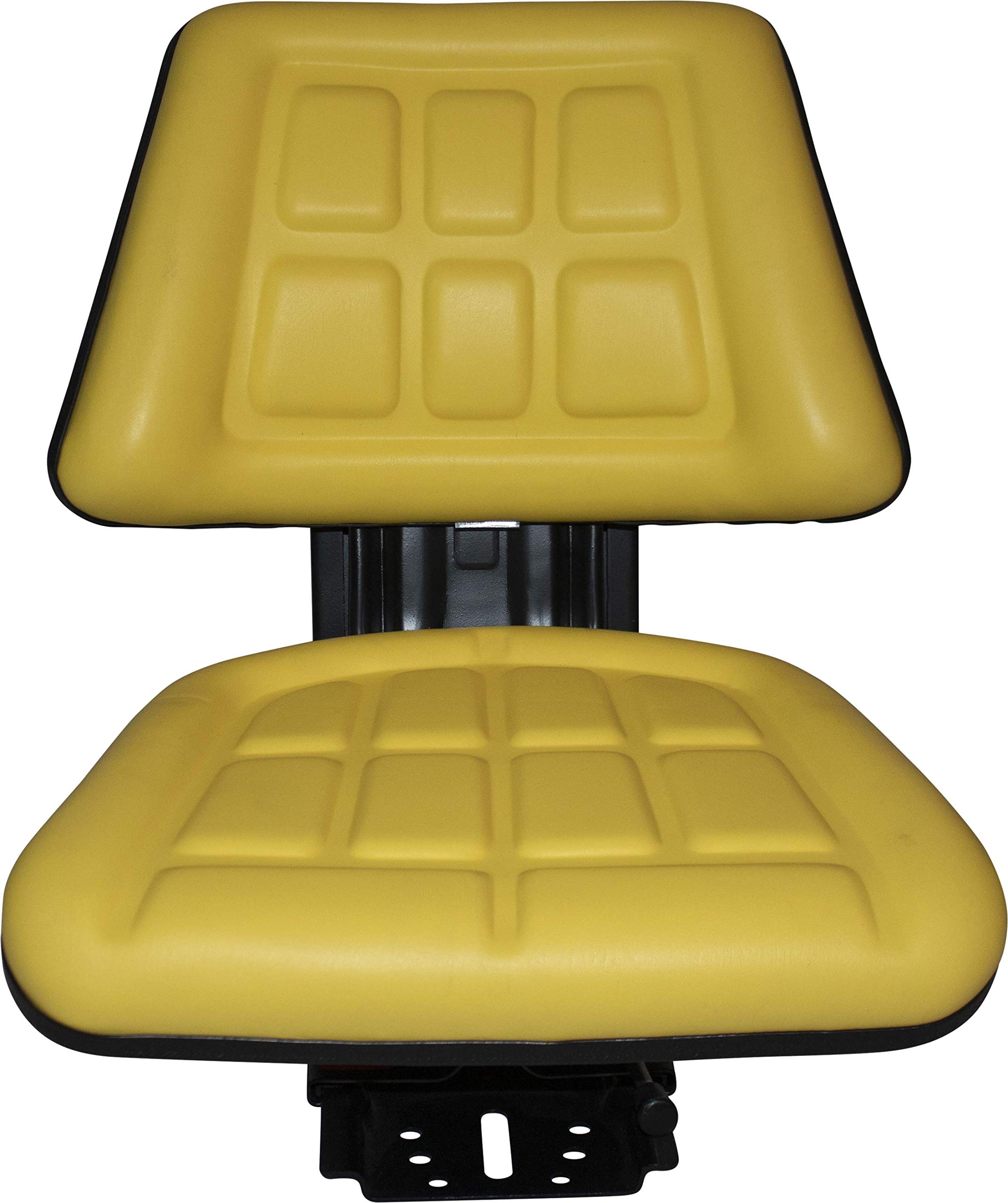 Yellow TRAC SEATS Brand TRIBACK Style Universal Tractor Suspension SEAT with TILT FITS John Deere 5200 5210 5300 5310 (Fast Shipping - 1-4 Business Days DELIVERY - Same OR Next Day Shipping -View MAP by TRAC SEATS