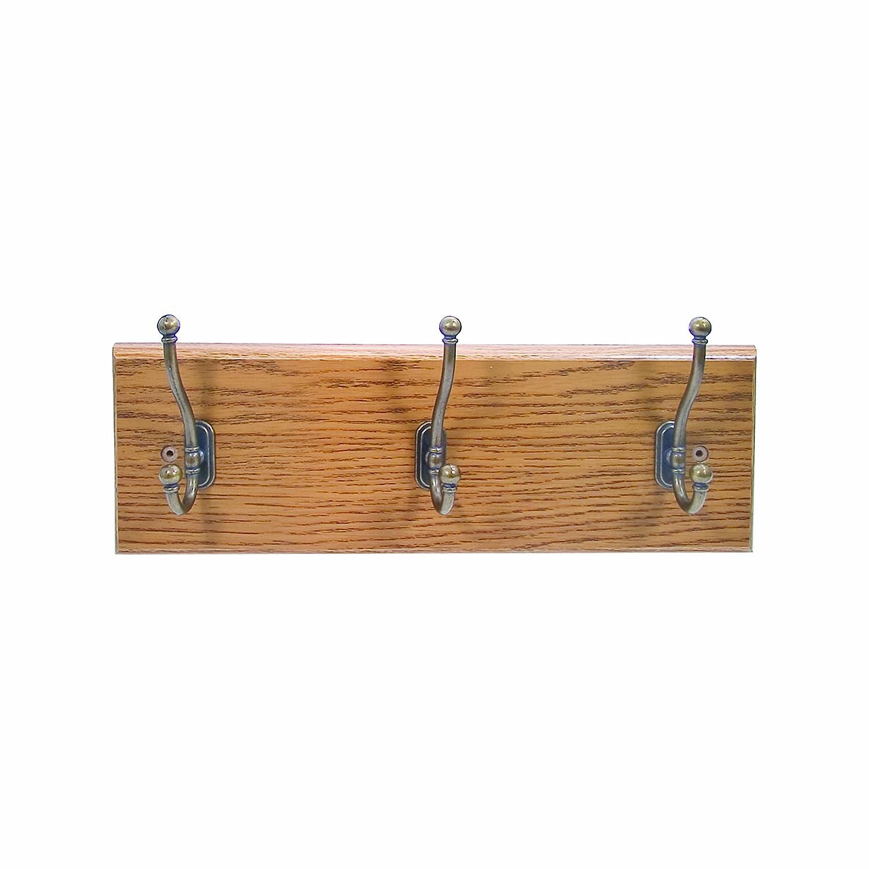 amazoncom advantus 3hook wall hatcoat rack medium oak with brass hooks 195 x 625 x 225 inches vffc105okbs office products