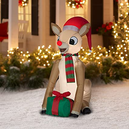 airblown inflatable rudolph with present by gemmy industries