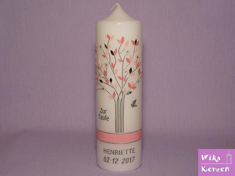 Taufkerze Kommunionkerze Lebensbaum rosa silber Mädchen inklusive Name und Datum