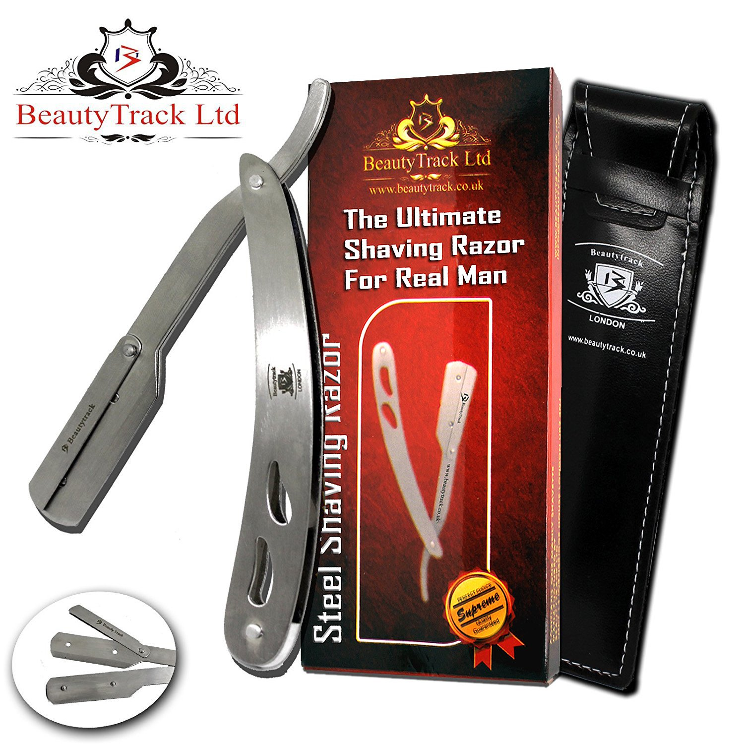 GiftSet Steel Handle Straight Wet Shaving Cut throat Razor - Barber Razor - New Improved Quality - Extra Long Stylish Handle Razor - Salon Razor - Safety Razor - Gift Box + Storage case BeautyTrack