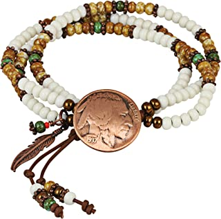 product image for Buffalo Nickel Multi Strand Bracelet  Leather and Czech Glass Beads   Genuine Coin   One Size Adjustable  Women's Fashion Jewelry
