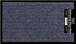 1-Pack Doormat for Entrance Way Outdoors, Shoe Scraper Rug, (17.5 x 29.5) All-Weather Floor Mat for Heavy Traffic Area, Indoor, Garage, Patio, Durable Rubber Mat, Heavy-Duty, Easy-Clean, Anti-Slip Rug