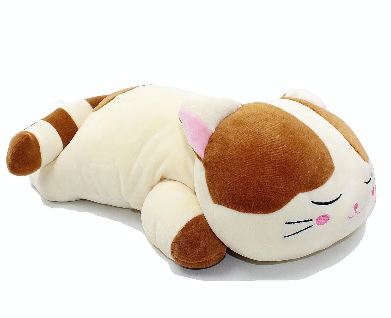 Sleeping Cat Hugging Pillow Stuffed Animals Plush Soft Toy Brown 23.5