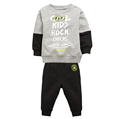 18313e8c6 Converse All Star Cool Kids Infant Baby Tracksuit Set Grey/Black - 6-9  Months: Amazon.co.uk: Clothing