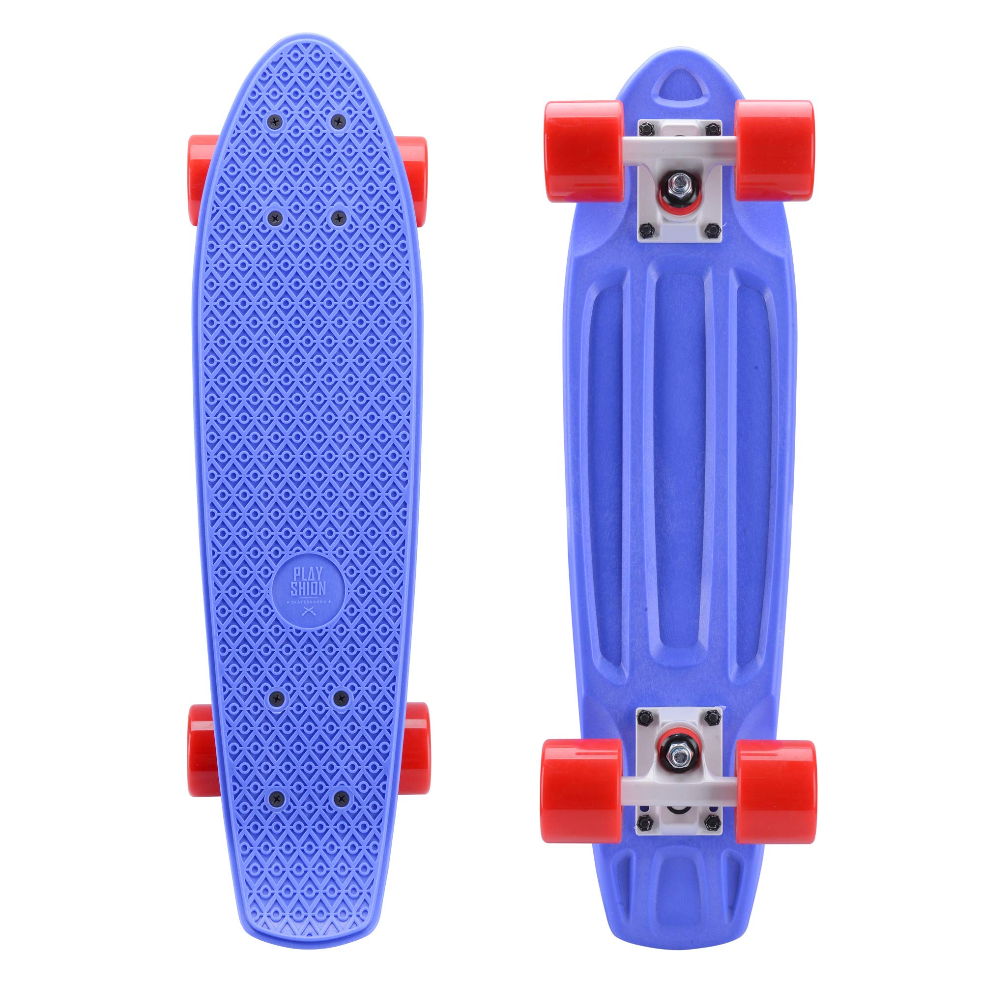Playshion Complete 22 Inch Mini Cruiser Skateboard for Beginner with Sturdy Deck Blue