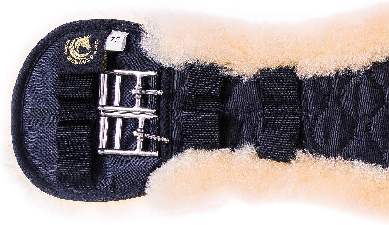 Merauno/® Sangle de Selle en Peau dagneau avec de Dressage Anatomique en Forme de Mouton avec Housse Amovible en Peau de Mouton et Sangle d/équitation avec Fourrure et Amovible en Laine dagneau