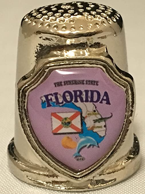 Florida Keys Map Pearl Souvenir Collectible Thimble agc