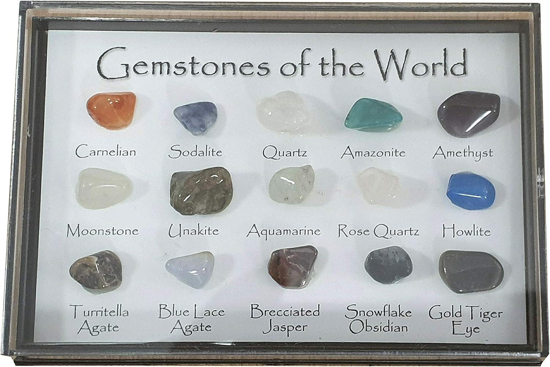 Mini caja de joya carta - 15 piedras preciosas pulidas del mundo en una vitrina: Amazon.es: Hogar