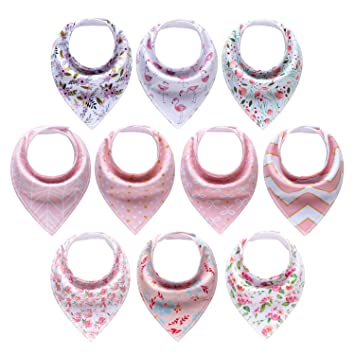 Amazon.com  MiiYoung 10-Pack Baby Girl Bandana Drool Bibs for Drooling and  Teething  Baby c8be471e0d3e