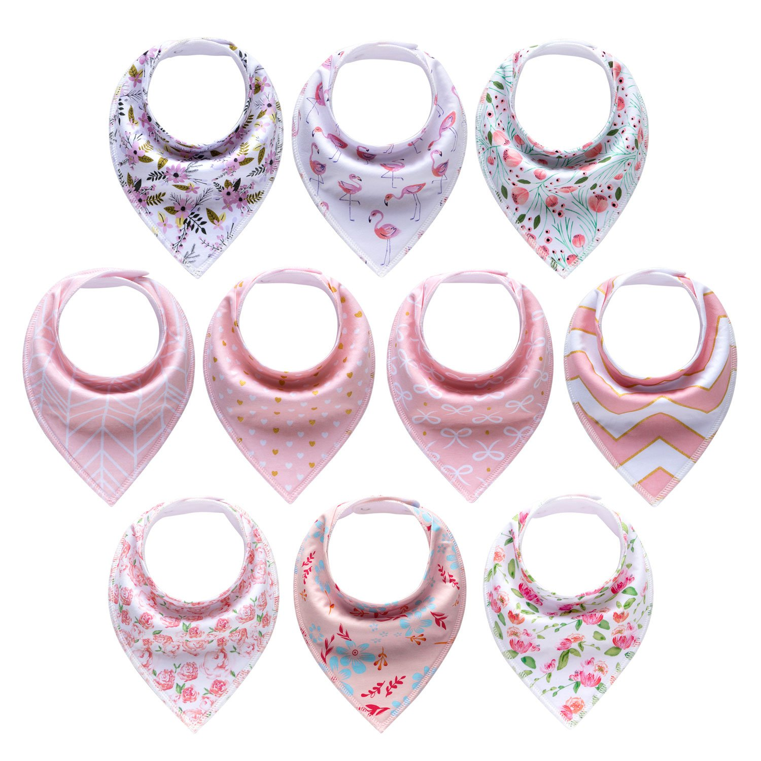 10-Pack Baby Girl Bandana Drool Bibs for Drooling and Teething by MiiYoung by MiiYoung (Image #1)