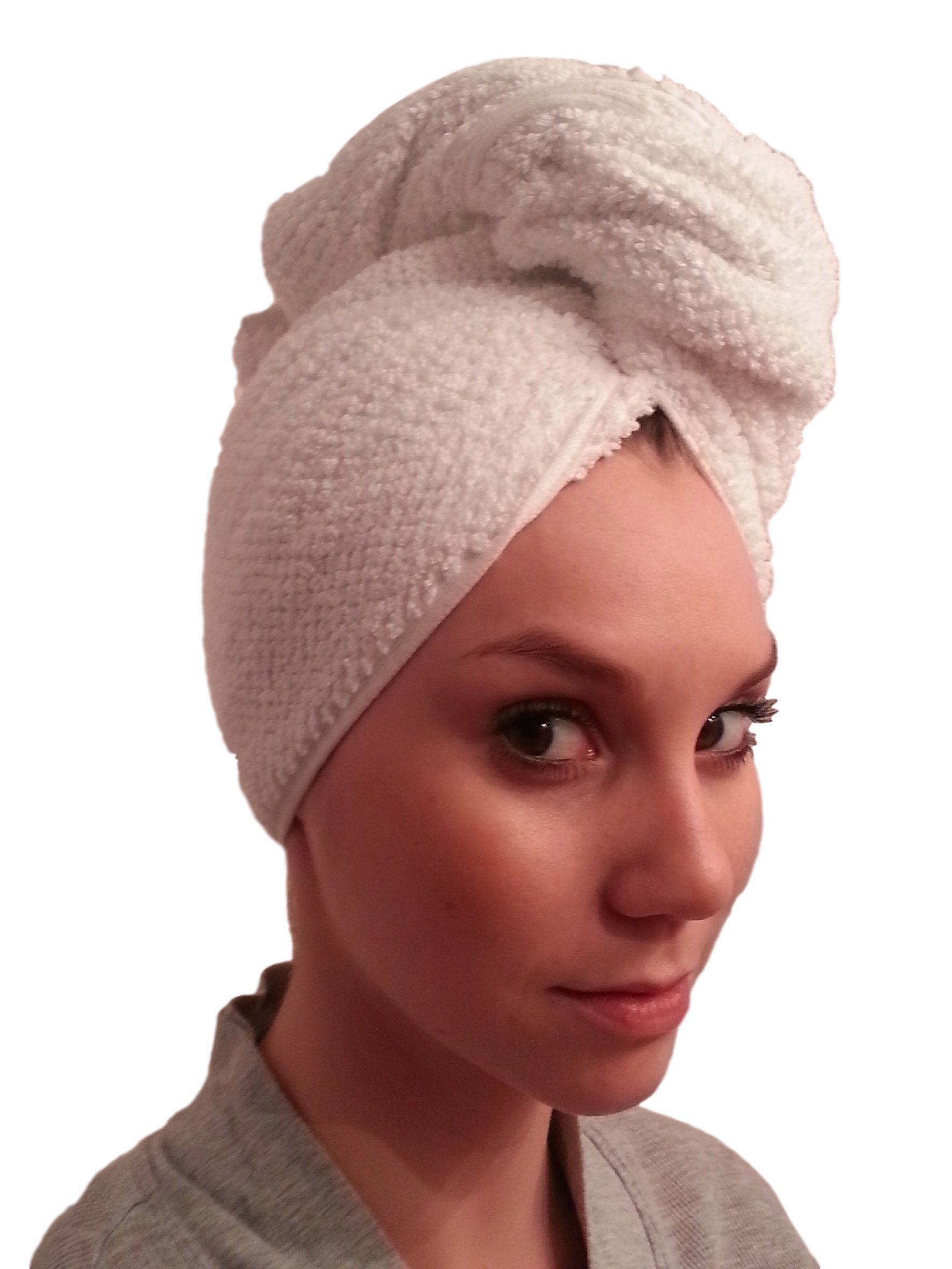 Premium Cotton Bath Hair Wrap, Hair Drying Towel, Hair Towel, Twist Wrap Cap - White