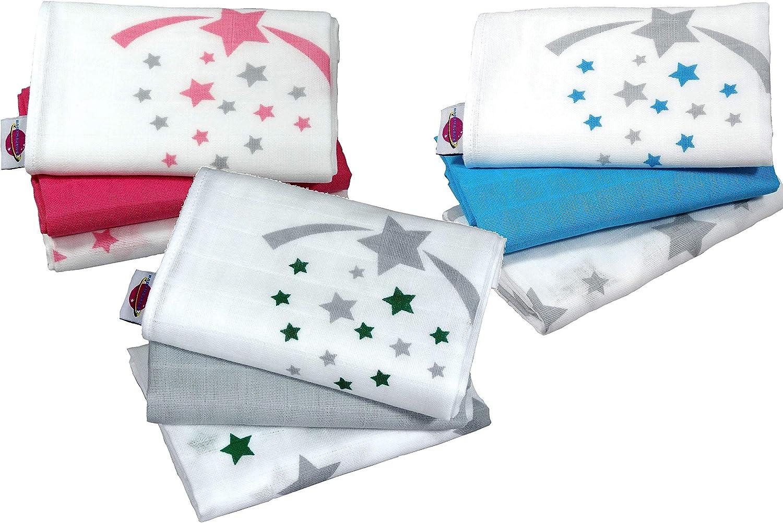 Babymajawelt/® Langes en mousseline Stars///étoiles 70x70 cm 3 pi/èces gris