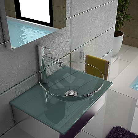 Alpenberger Feine Glaswaschbecken /Ø 38 cm aus starkem Sicherheitsglas ESG 12 mm inklusive moderner Edelstahlkasten Aufsatzwaschbecken Waschtisch Glaswaschschale perfekt f/ür Ihr G/äste-WC