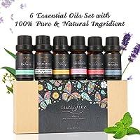 Luckyfine Aceites Esenciales Naturales Perfume de Aromaterapia Kit de Aceite Esencial - Ayuda a Dormir, Calma el Estado de Ánimo - Regalo Ideal 6 Olores Diferentes 6 x 10 ml