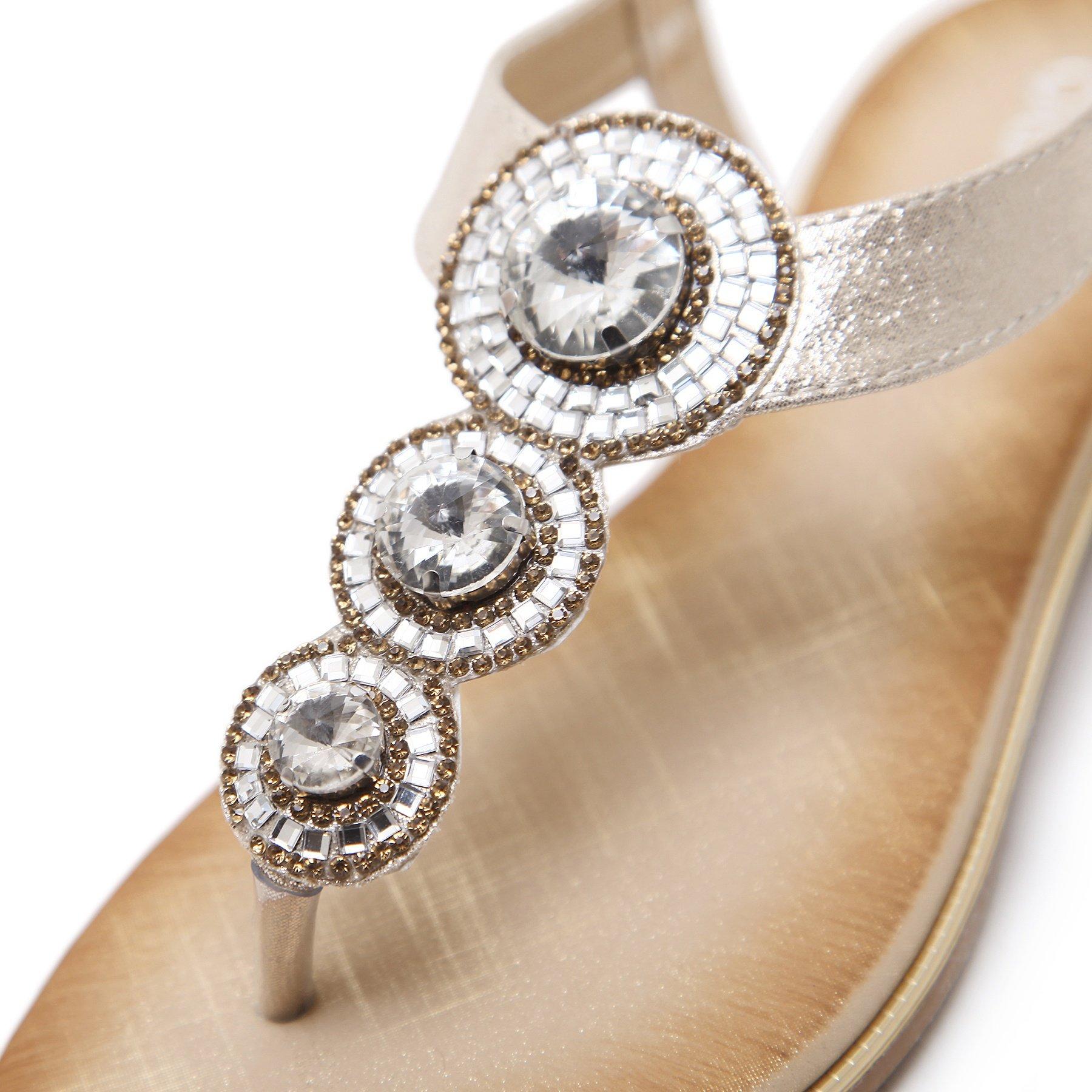 Meeshine Womens Flat Sandals Summer Rhinestone Comfort Bohemian Flip Flop Shoes Gold-02 US 8.5 by Meeshine (Image #4)