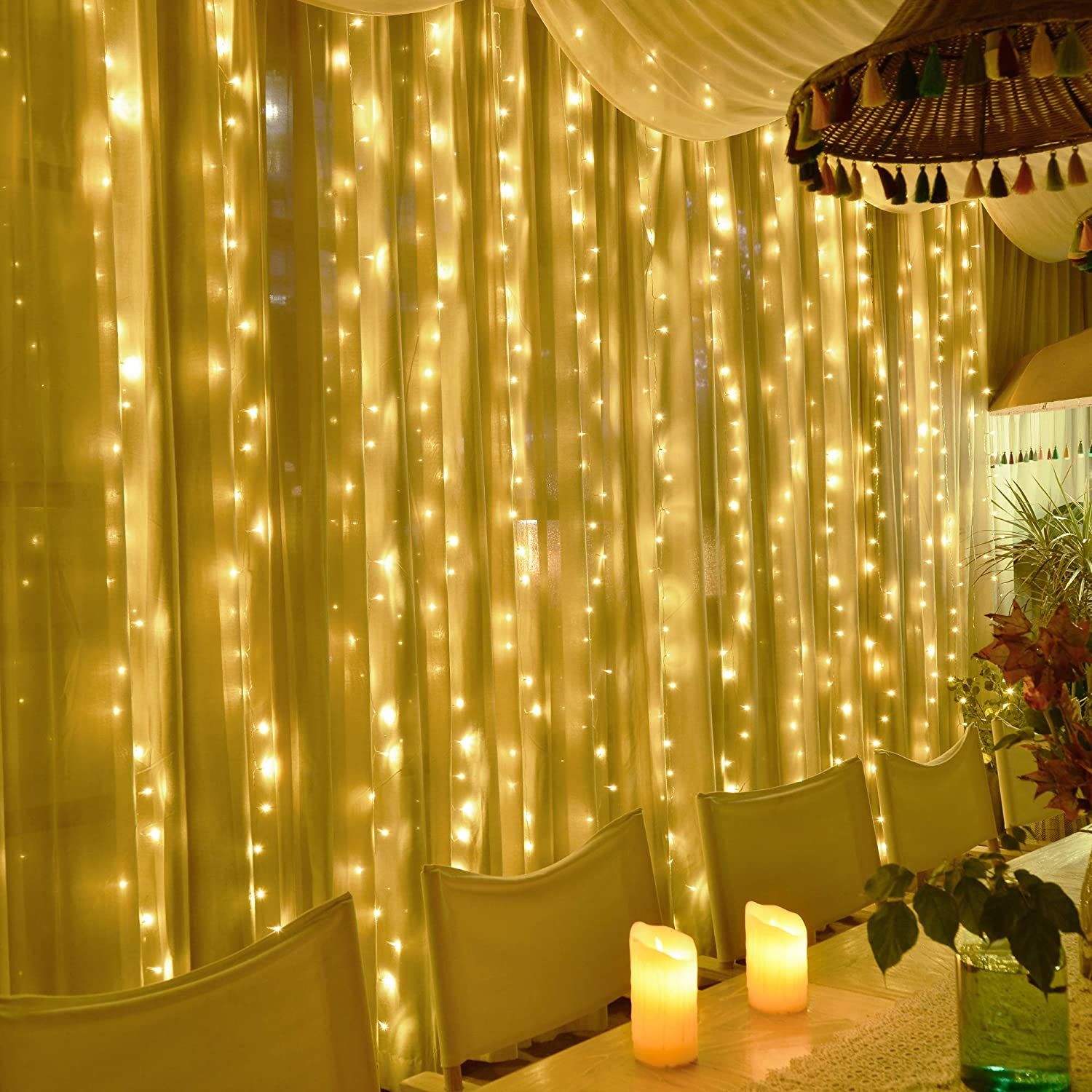 KNONEW Curtain String Lights 300 LED 9.84ft x 9.84ft, LED Fairy String Window Light for Christmas Wedding Birthday Party Backdrop Bedroom Wall Window Indoor Outdoor Decoration (Warm White)