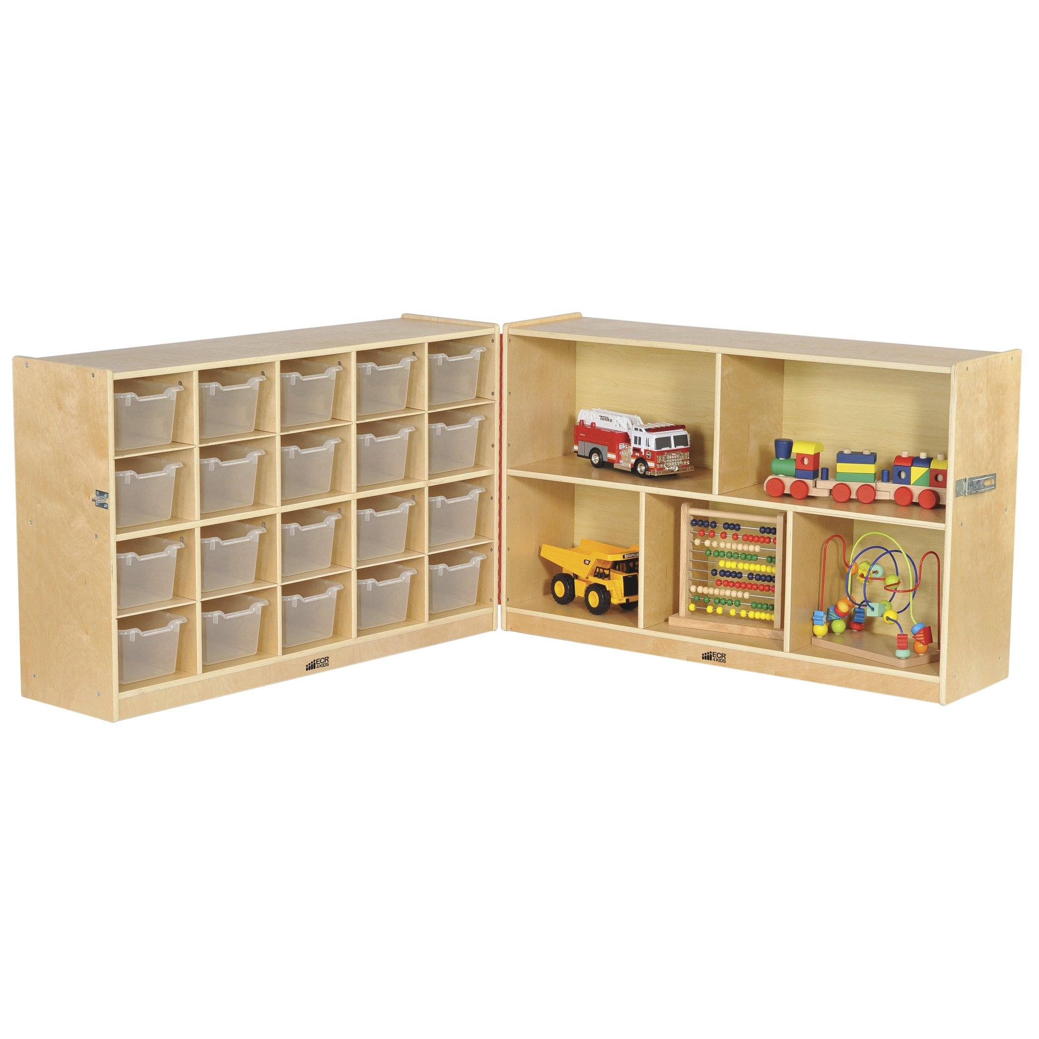 ECR4Kids Birch Fold & Lock Storage Cabinet with Casters, 5 Shelves, 20 Cubbies with Bins, 30'' H, Clear
