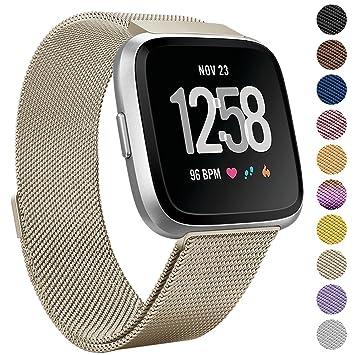 Pour Fitbit Versa Bracelet, eDriveTech Milanais Acier Inoxydable Métal Bracelet de Montre avec Fermeture Magnétique