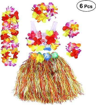 BESTOYARD - Disfraz de Hula Gras con Flores Hawaianas, 6 Unidades ...