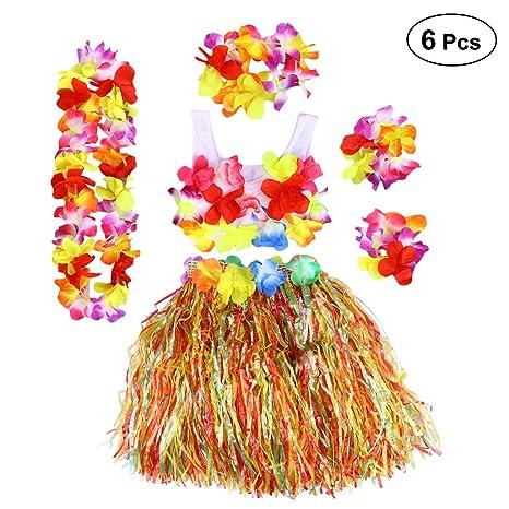 dbbfb2718 BESTOYARD Conjunto de Disfraces de Hula Hawaiana para Niños con Pulseras  Diadema de Flor Falda Rosado
