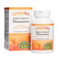 CurcuminRich Double Strength Theracurmin by Natural Factors, Supports Natural Inflammatory Response, Joint and Heart Function, 60 capsules (60 servings)