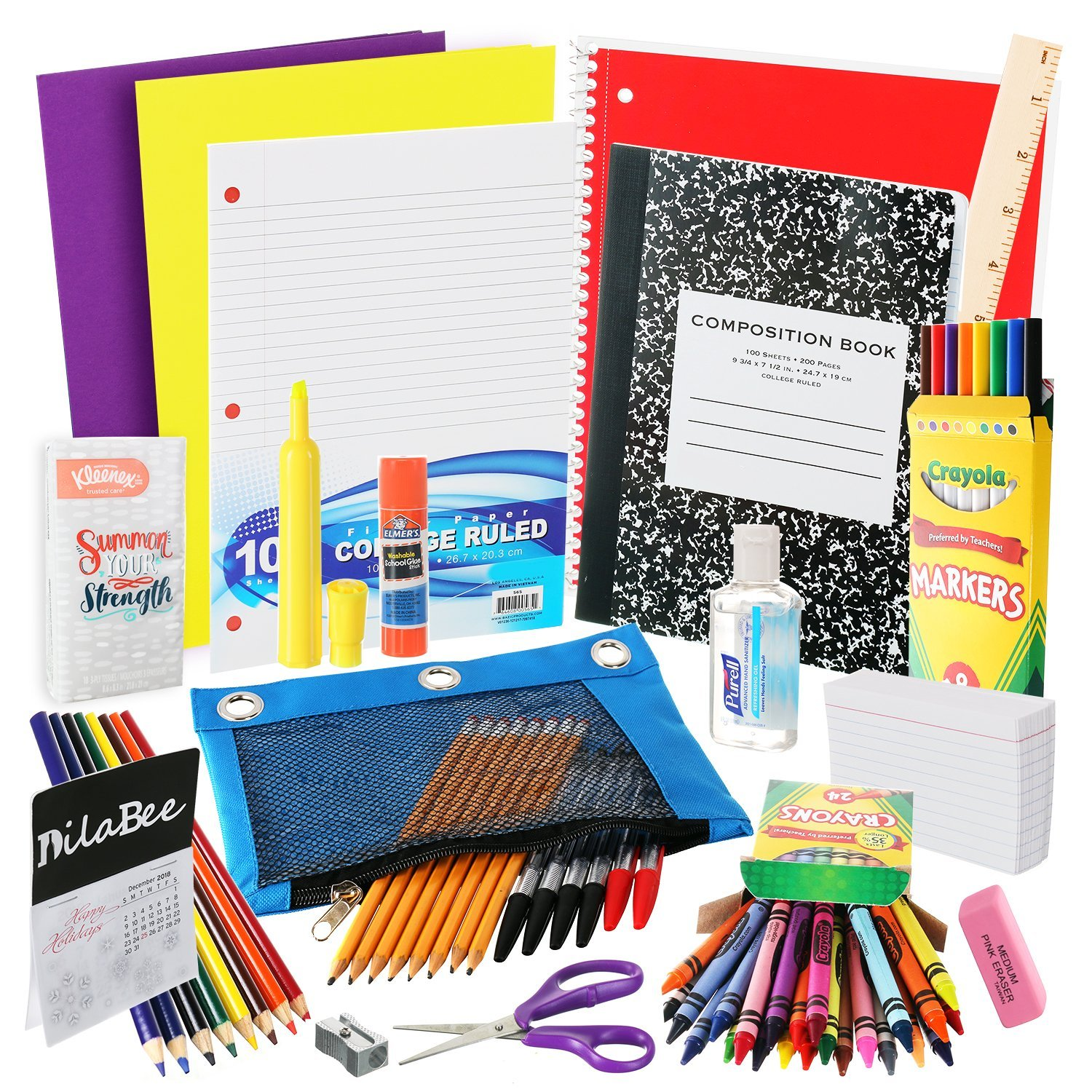DilaBee Back to School Supplies Kit for Third to Fifth Grade Kids: Complete Classroom Supply Bundle - Set of 20 Elementary School Essentials - Crayola Art, Elmer's Glue, Pencils, Papers