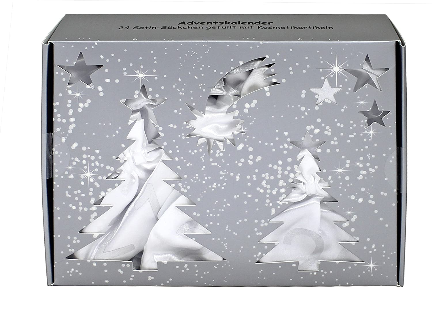 Advent Calendar with 24Satin Pouches Filled with Cosmetics White BriConti SCHMINK887