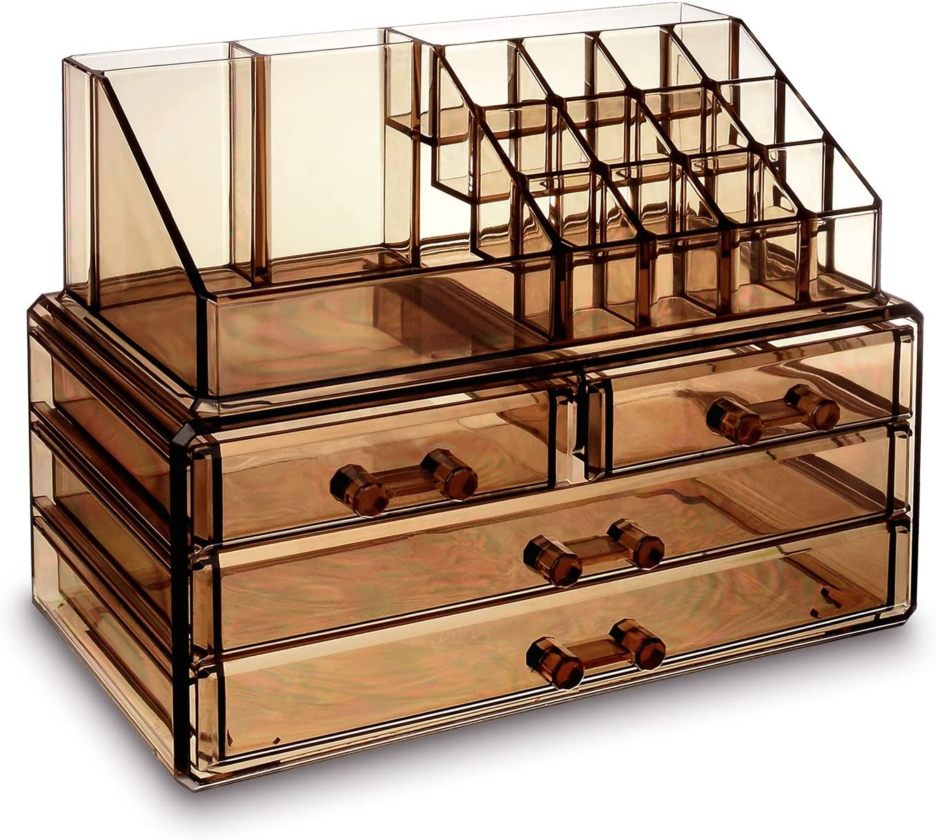 Ikee Design Jewelry and Cosmetic Storage Makeup Organizer Two Pieces Set, Light Brown
