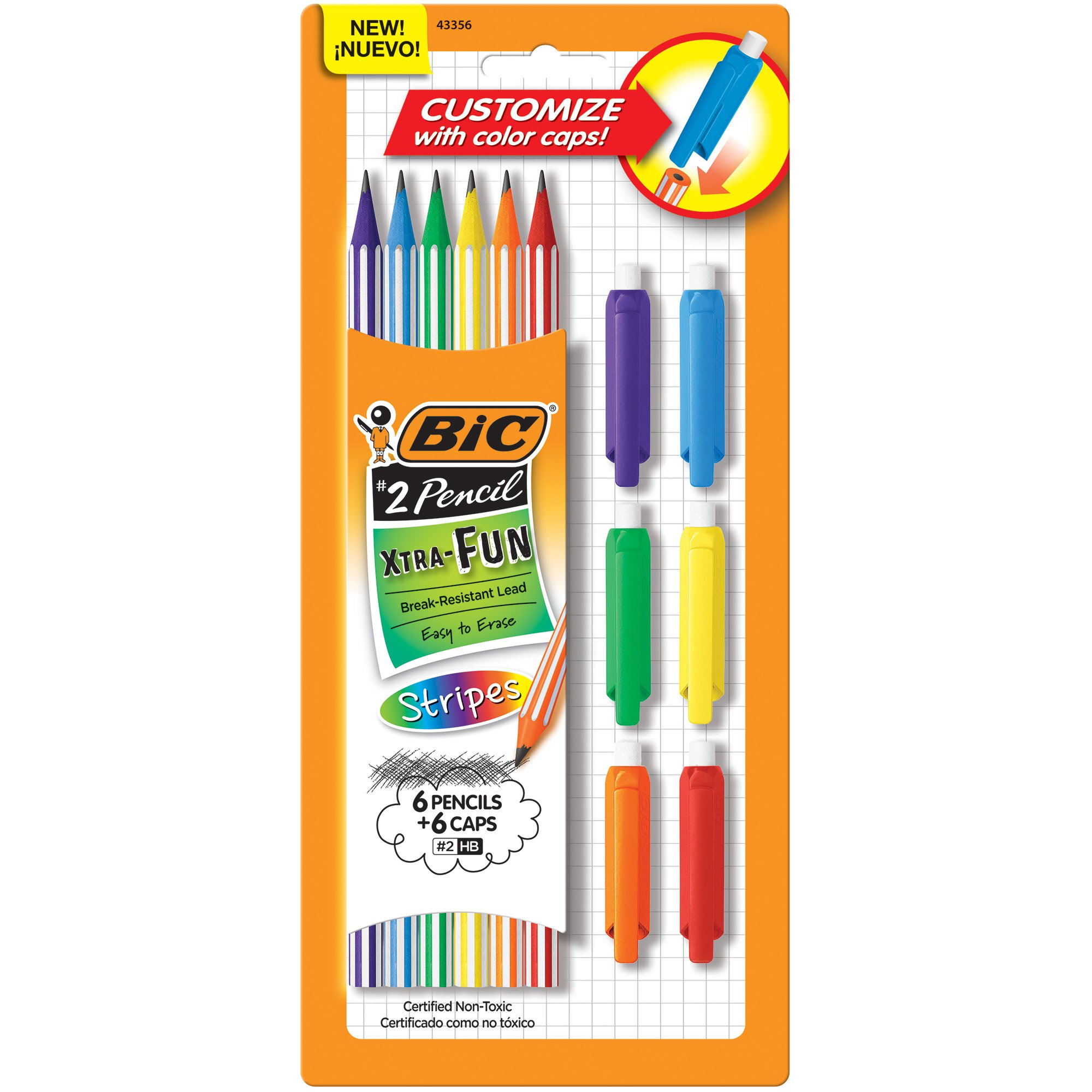Pack 6 BIC Xtra-Fun Lapices Negros 2HB