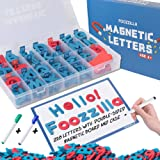 Magnetic Letters with Double Sided Dry Erase Magnetic Board - Alphabet Magnets Uppercase Lowercase Punctuation and Storage Box - Classroom & Home Education Learning for Vocabulary Sentence Building