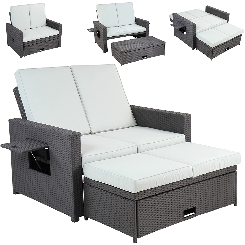 Amazon.de: Miadomodo 3 in 1 Polyrattan Garnitur Sofa Couch ...