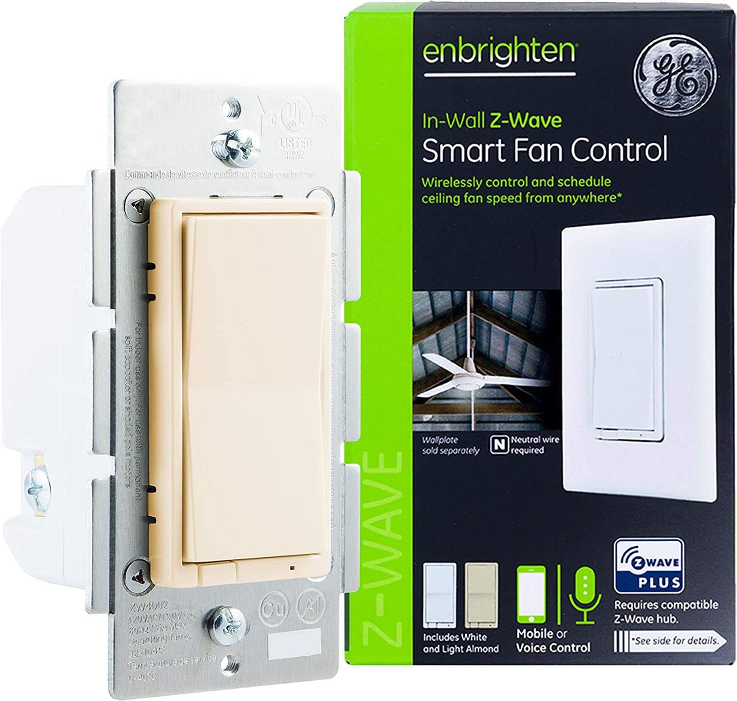 GE Enbrighten Z-Wave Plus Smart Fan Control, Works with Alexa, Google Assistant, 3-Way Compatible, ZWave Hub Required, Repeater/Range Extender, Ivory, 38194