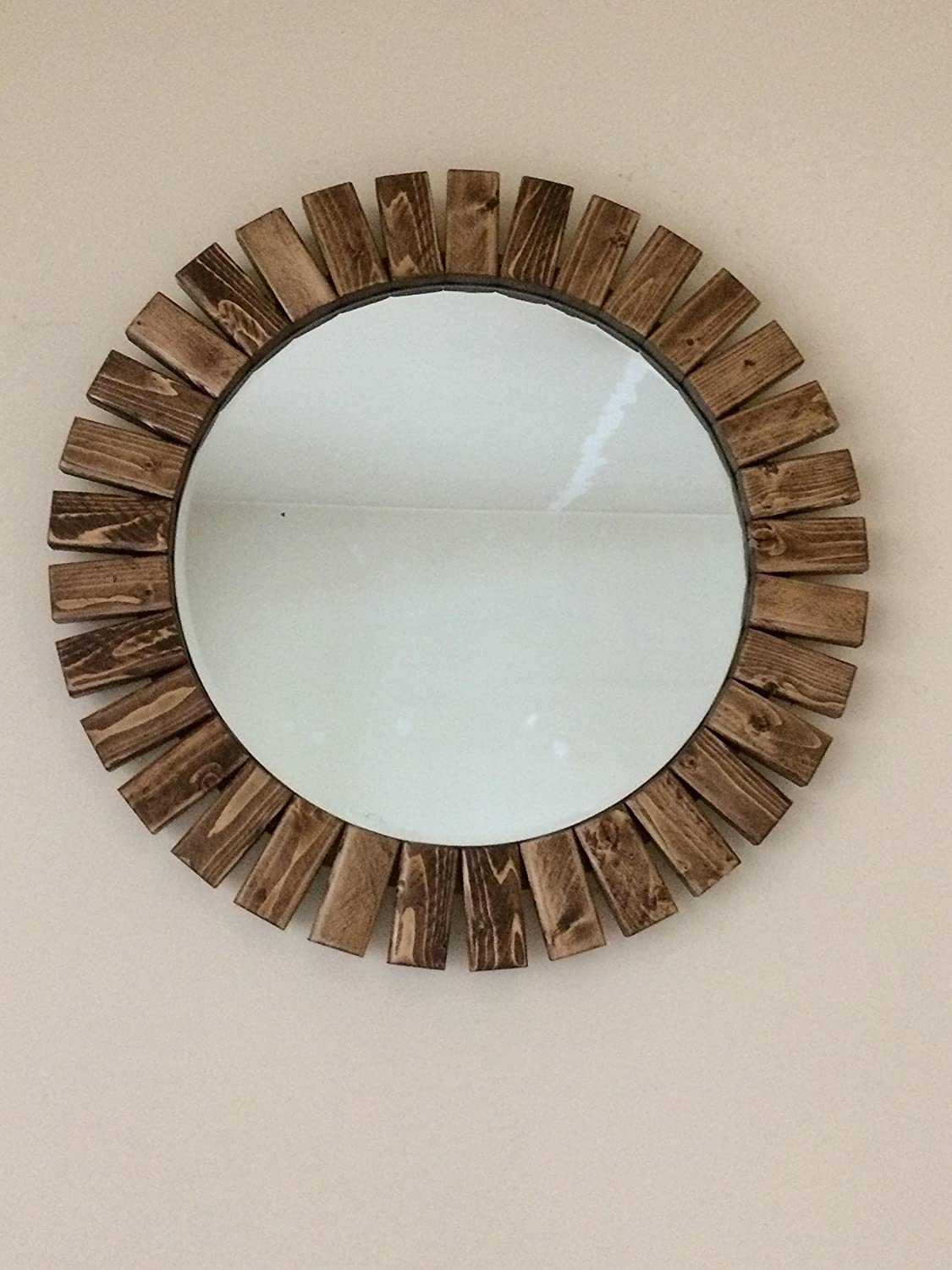 Round Sunburst Wall Mirror Handmade Wooden Special Walnut Color 22
