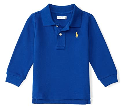 1f77c7351 Ralph Lauren Baby Boys' Cotton Mesh Long Sleeve Polo Shirt, Blue Streak (3  Months): Amazon.in: Clothing & Accessories
