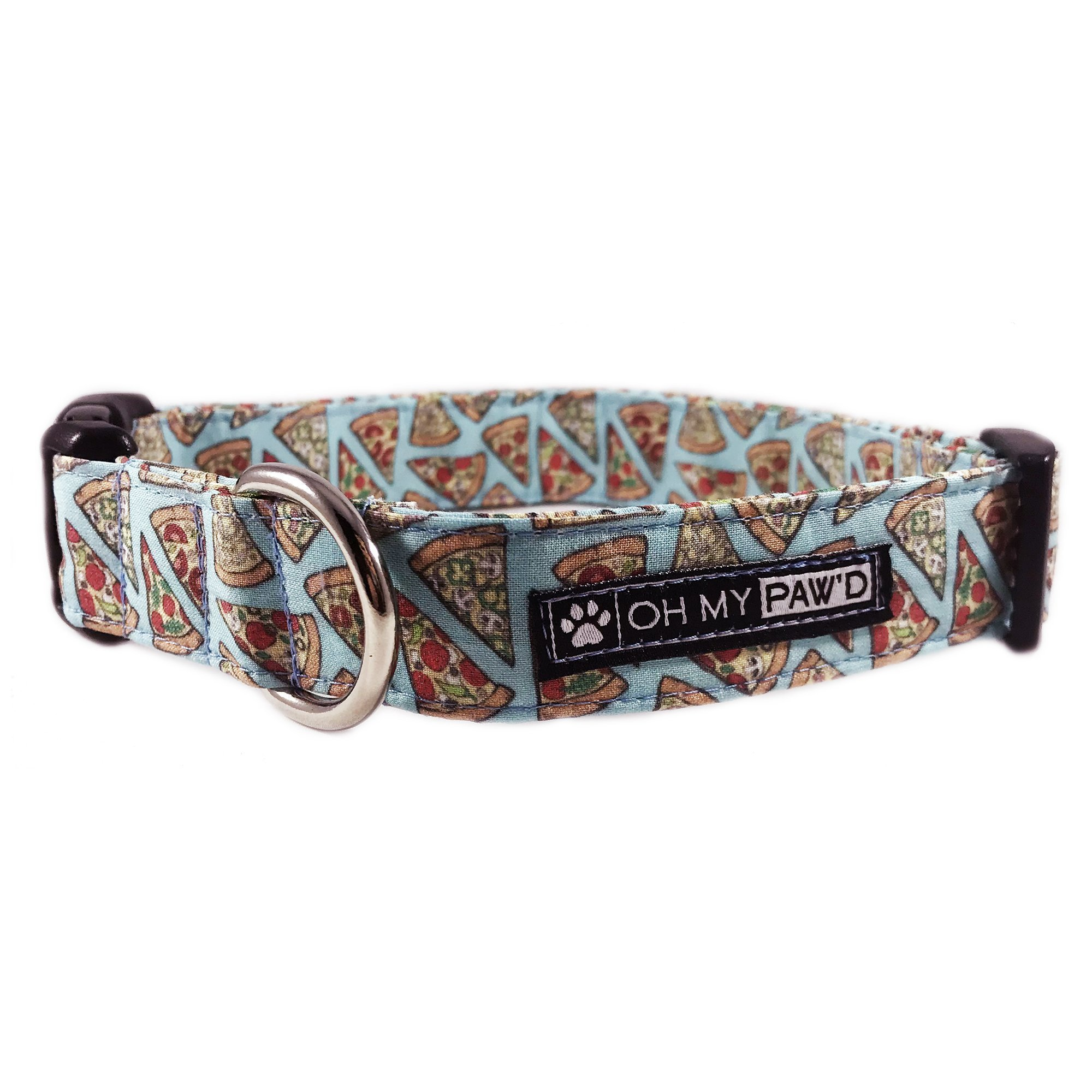 Pepperoni Pizza Dog or Cat Collar for Pets in Size Medium with Extra Width 1'' Wide long 13-17'' Long by Oh My Paw'd