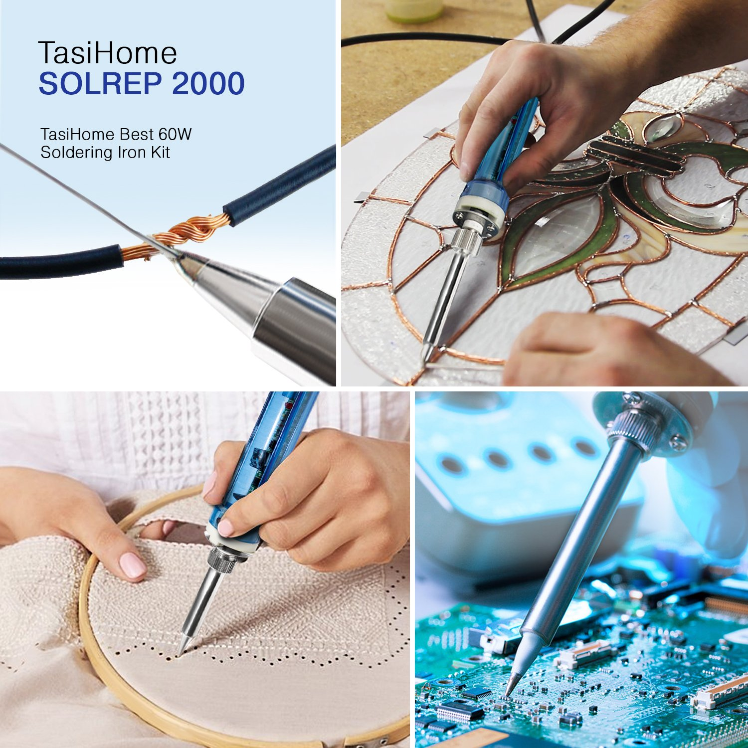 TasiHome 110 V 60W Soldering Iron Kit With Temperature Adjustment For Reliable Electronic Circuit Repairs By Eliminating Component Damage. Robust Electrical And Jewelry Repairs by TasiHome (Image #4)