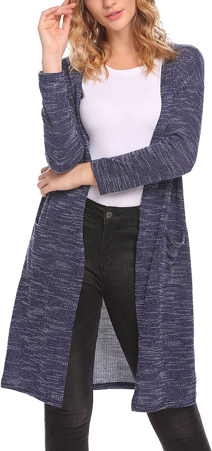 Mofavor Womens Open Front Drape Lightweight Duster Maxi Long Sleeve Cardigan with Pocket