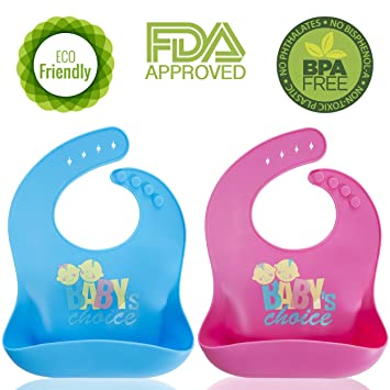 Silicone Baby Bibs with Pocket, BPA-Free, Waterproof, Dishwasher Safe for  Feeding