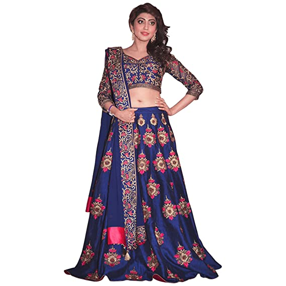 9026549329 Rozy Fashion Blue Velvet Embroidered Semi Stitched Lehenga Choli Material  With Matching Nazneen Dupatta: Amazon.in: Clothing & Accessories