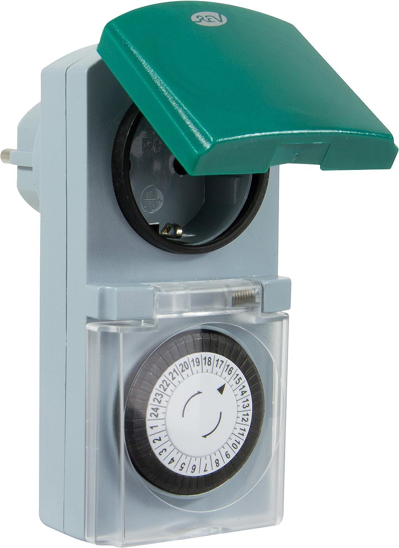 Grigio//Verde colore Presa con orologio meccanico Tag IP44 REV Ritter 0025700409