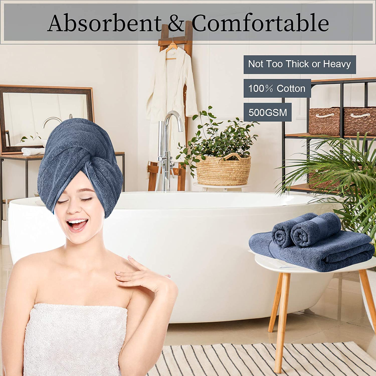 3 Pcs PRETTY SEE 100/% Cotton Bath Towel Set 1 Bath Sheet and 2 Face Towels Quick Dry Absorbent Hand Towels for Daily Use