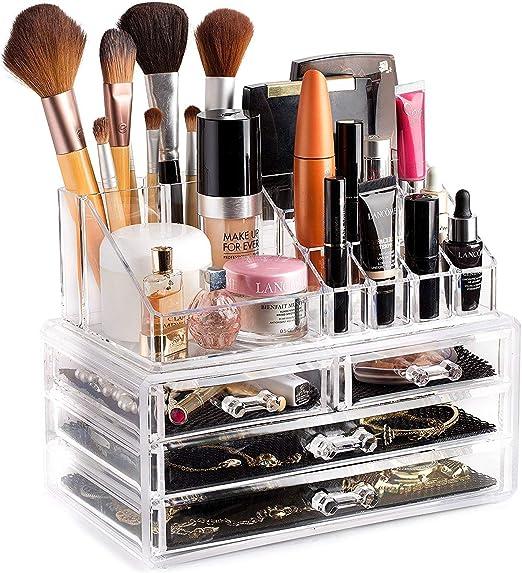 Xdluk Acrílico Transparente Maquillaje Organizador Cosmético Caja de Almacenamiento Exhibición Maquillaje Caja de Diamantes Cajón Handl: Amazon.es: Hogar