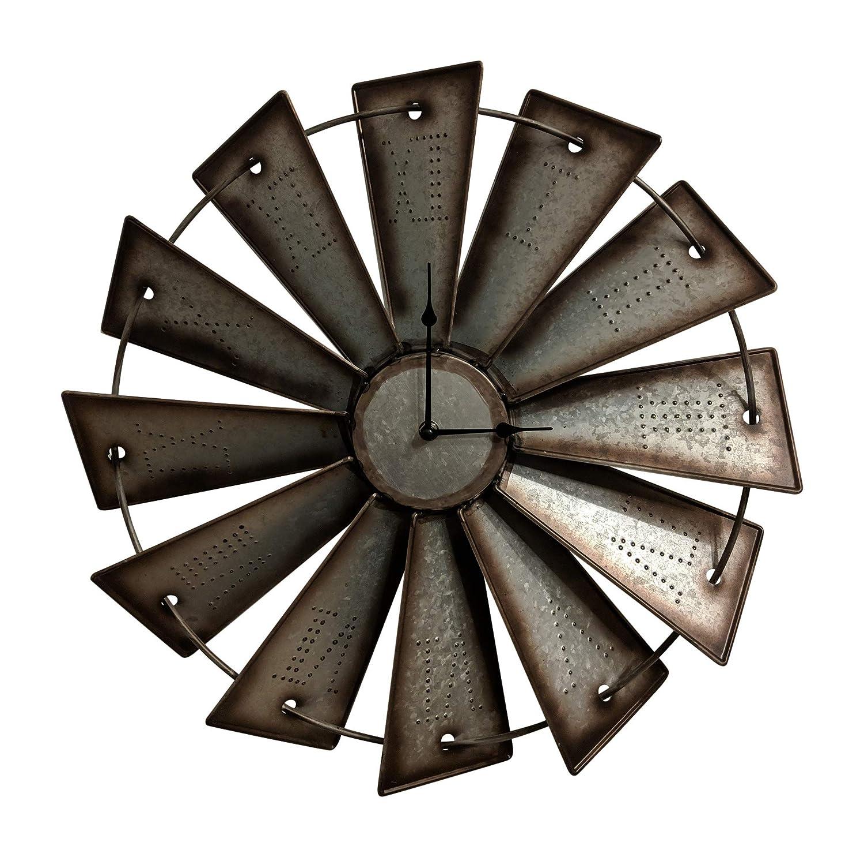 "Gianna's Home Rustic Farmhouse Metal Windmill Wall Clock (18.5"")"