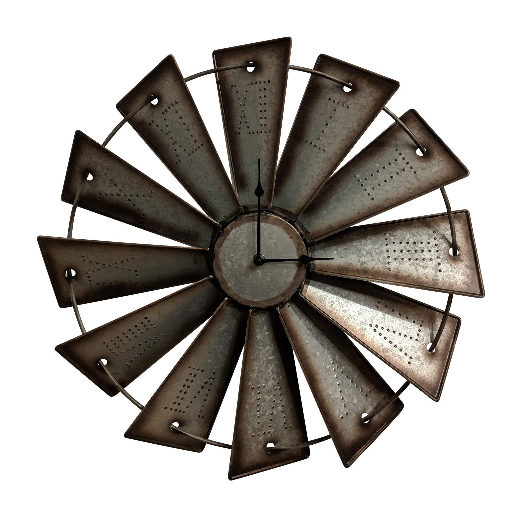 Gianna's Home Rustic Farmhouse Metal Windmill Wall Clock (18.5'')