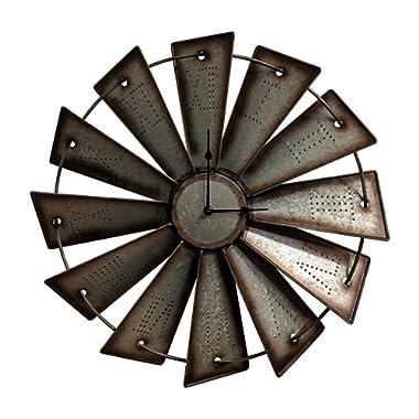 Gianna's Home Rustic Farmhouse Metal Windmill Wall Clock (18.5 )