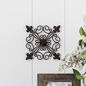 "Home Lavish 80-WALLM-10A Hand Crafted Medallion Wall Art-8"" Square Metal Décor, 1PK"