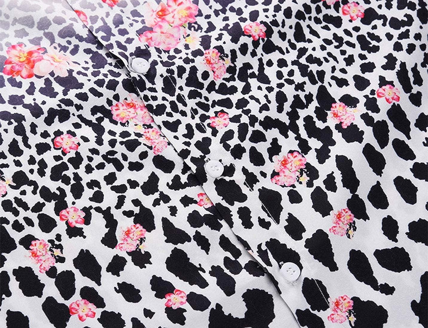 NatrE Mens Plus Size Patchwork Leopard Print Short Sleeve Printed Shirt