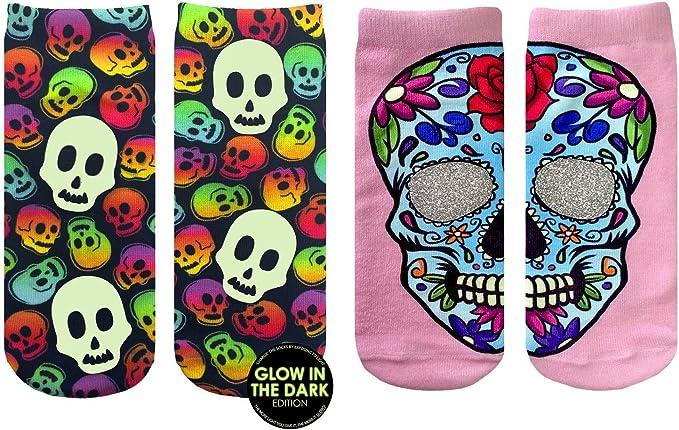 Love Skull Glow-In-The-Dark Ankle Socks OSFM by Living Royal